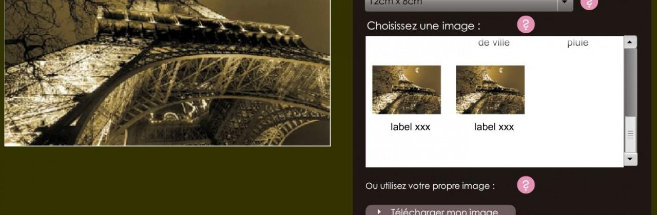 Module de personnalisation pour cartes postales et posters