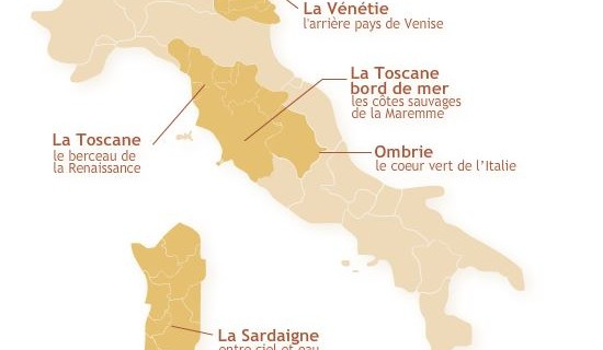 Carte interactive de l'Italie pour Trust & travel