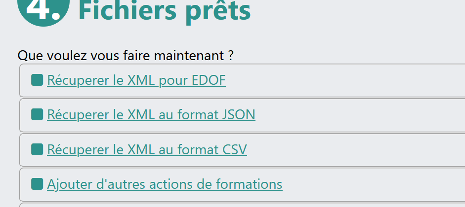 Outil de génération du XML EDOF