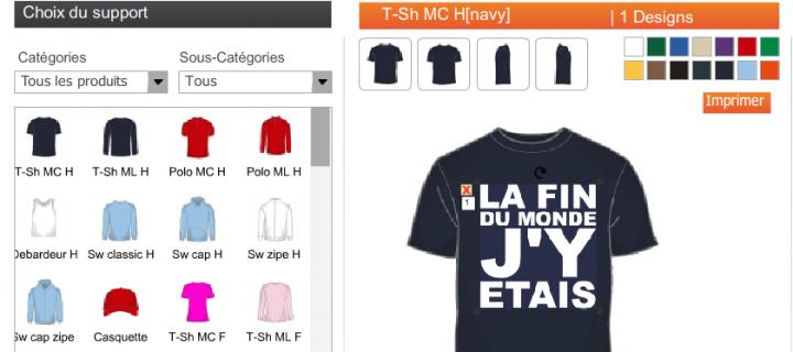 Systeme de boutiques en ligne de vente de T-shirts personnalisables pour Wprod