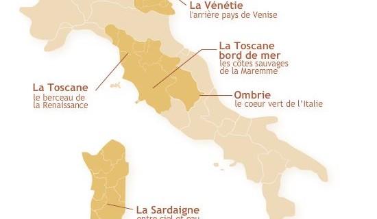 Carte interactive de l'Italie pour Trust & travel